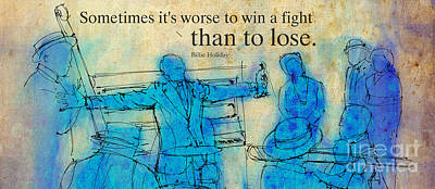 Musicians Drawings - Blue Jazz - Bille Holiday Quote by Drawspots Illustrations