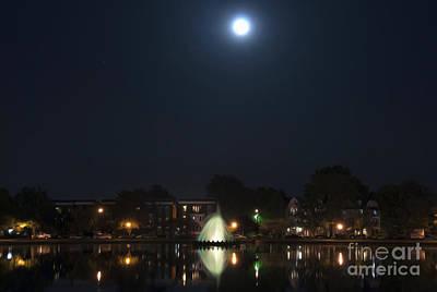 Art Print featuring the digital art Blue Moon Over Fountain Lake by Kelvin Booker
