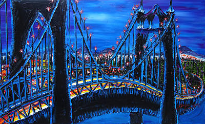 Blue Night Of St. Johns Bridge 12 Art Print by Portland Art Creations