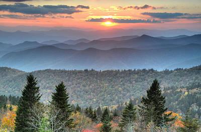 Blue Ridge Mountains Sunset Art Print by Mary Anne Baker