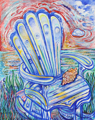 Blue Rocking Chair Original by Susan Schiffer