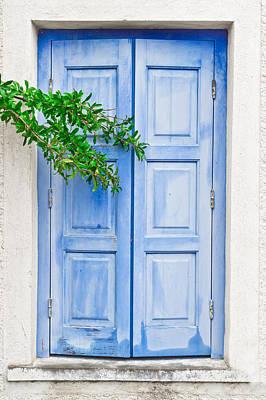 Door Photograph - Blue Shutter by Tom Gowanlock