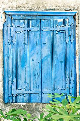 Blue Shutters Art Print by Tom Gowanlock