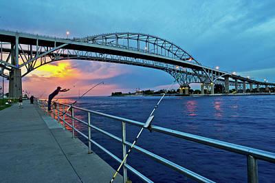 Michigan Port Huron Photograph - Blue Water Bridge At Dusk, Port Huron by Panoramic Images