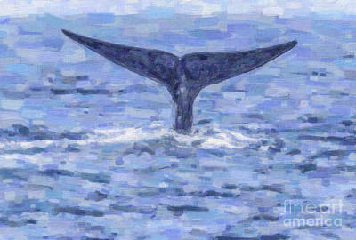 Digital Art - Blue Whale Fluking by Liz Leyden