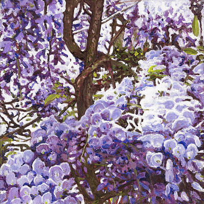 Wisteria Painting - Blue Wisteria by Helen White