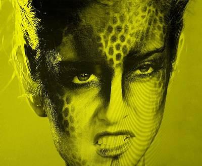 Golden Leopard Digital Art - Blue Woman Grrr Yellow by Rob Hans