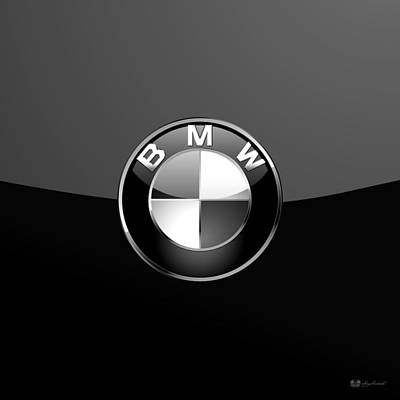 Digital Art - B M W - Silver 3 D Badge On Black by Serge Averbukh