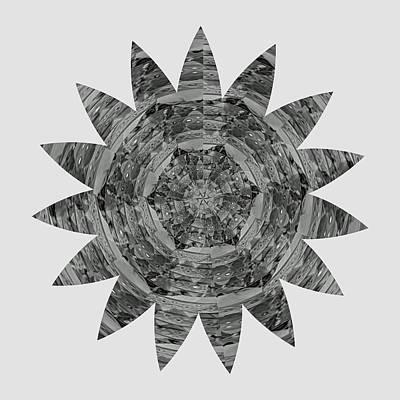 Healing Painting - Bnw Black N White Star Ufo Art  Sprinkled Crystal Stone Graphic Decorations Navinjoshi  Rights Manag by Navin Joshi