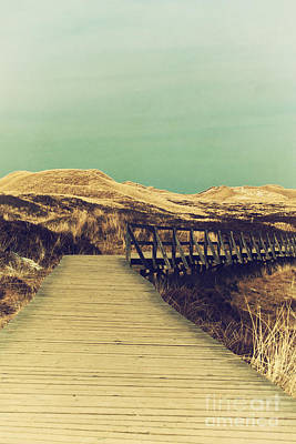 Sand Dunes Mixed Media - Boarded Walkway by Angela Doelling AD DESIGN Photo and PhotoArt