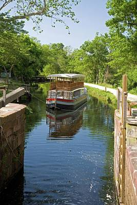 Pleasure Photograph - Boat Approaching An Open Canal Lock by Jim West