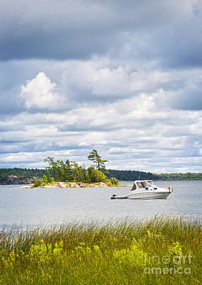 Overcast Photograph - Boat On Georgian Bay by Elena Elisseeva