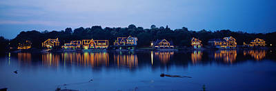 Boathouse Photograph - Boathouse Row Lit Up At Dusk by Panoramic Images