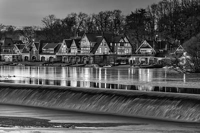 Boathouse Row Bw Art Print by Susan Candelario