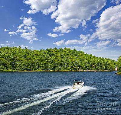 Boating On Lake Art Print