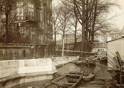 Boats Along A Quay During The Flooding Of Paris Art Print