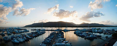 Boats At A Marina At Dusk, Shangri-la Print by Panoramic Images