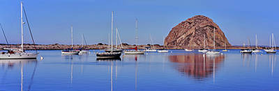 Morro Bay Rock Photograph - Boats At Harbor In Front Of The Morro by Panoramic Images