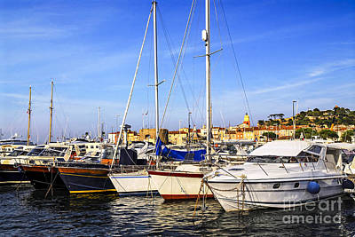 Boats At St.tropez Print by Elena Elisseeva