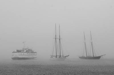 Boats In Fog Art Print