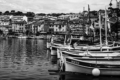 South Of France Harbor In Mono Art Print by Georgia Fowler