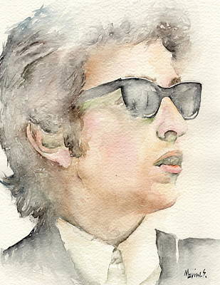 Miles Davis Oil Painting - Bob Dylan by Marina Sotiriou