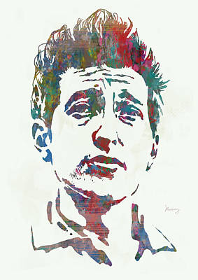 Dylan Drawing - Bob Dylan - Stylised Etching Pop Art Poster by Kim Wang