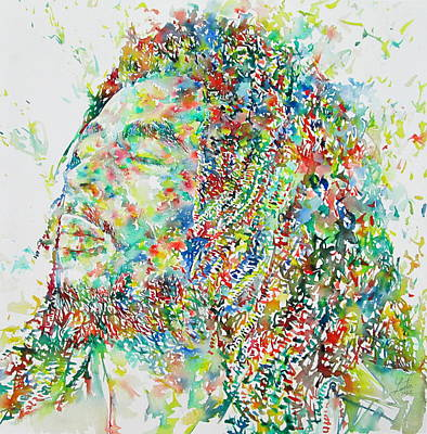 Drawing Painting - Bob Marley Watercolor Portrait.1 by Fabrizio Cassetta