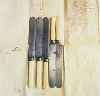 Photograph - Bonehandled Table Knives On Crumpled Paper With Notes by Elspeth Ross