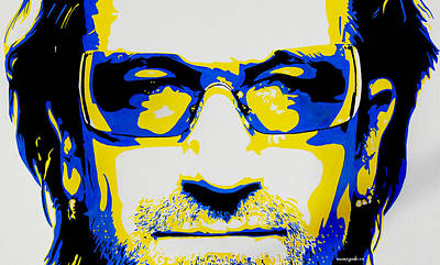 U2 Mixed Media - Bono by Nancy Mergybrower