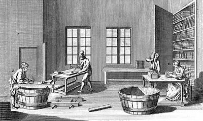 Bookshelf Painting - Bookbinding, 18th Century by Granger