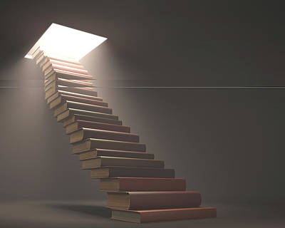 Books Making Steps Art Print