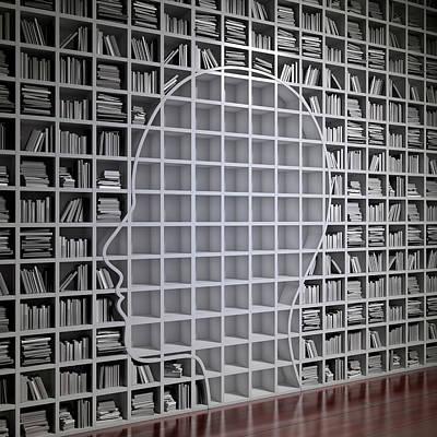 Bookcase Photograph - Bookshelf With The Shape Of Human Head by Andrzej Wojcicki