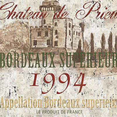 Food And Beverage Royalty-Free and Rights-Managed Images - Bordeaux Blanc Label 2 by Debbie DeWitt
