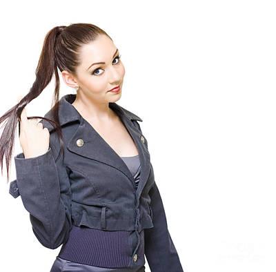 Bored Unproductive Business Woman Twirling Hair Art Print
