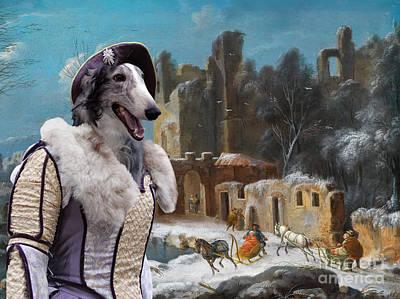 Borzoi Painting - Borzoi - Russian Wolfhound Art Canvas Print by Sandra Sij