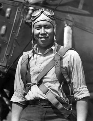 Airlines Photograph - Boston Airport Chinese Aviator by Underwood Archives