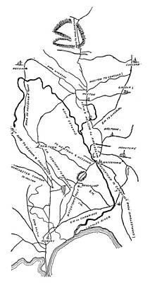 Concord Photograph - Boston-concord Map, 1775 by Granger