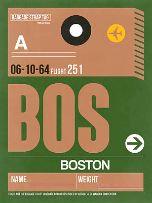 Town Mixed Media - Boston Luggage Poster 1 by Naxart Studio