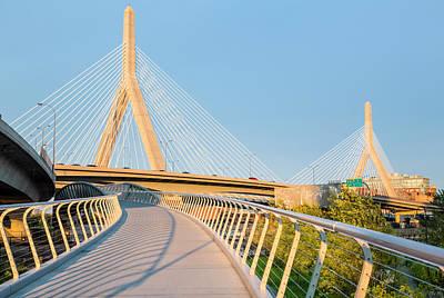 Photograph - Boston - North Bank Walkway And Zakim by Drnadig