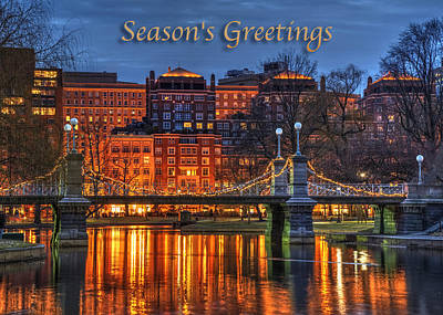 Boston Public Garden Photograph - Boston Season's Greetings Card by Joann Vitali