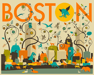 Pop Surrealism Digital Art - Boston Skyline by Jazzberry Blue