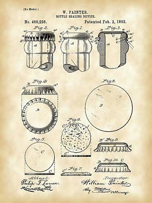 Bottle Caps Digital Art - Bottle Cap Patent 1892 - Vintage by Stephen Younts