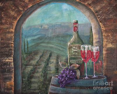 Italian Wine Painting - Bottle For Two by Jodi Monahan