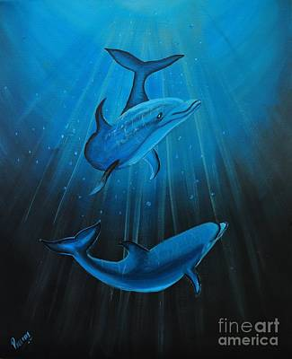 Painting - Bottle-nose Dolphins by Preethi Mathialagan