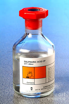 Bottle Of Sulphuric Acid Art Print by Martyn F. Chillmaid