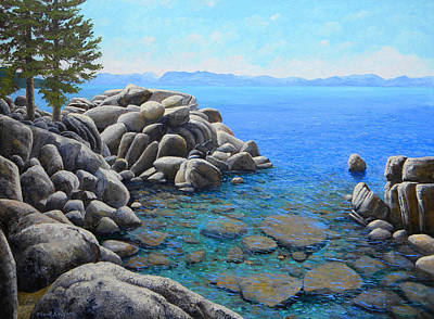 Watercolor Typographic Countries - Boulder Cove On Lake Tahoe by Frank Wilson