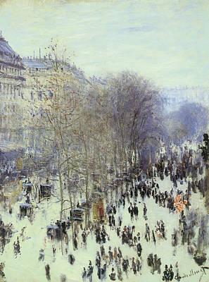 Winter Scene Painting - Boulevard Des Capucines by Claude Monet