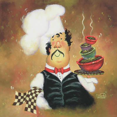 Bow Tie Chef Art Print by Vickie Wade