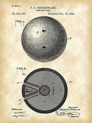 Bowling Ball Patent 1894 - Vintage Print by Stephen Younts